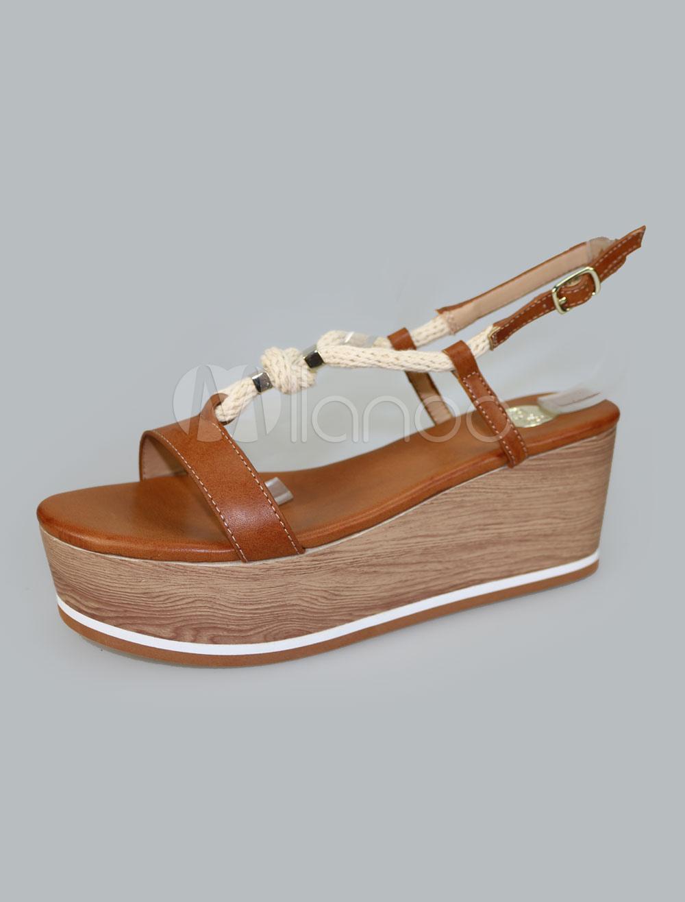 Women Summer Sandals Strappy Color Block Flatform Women Lace Up Wedge Sandal