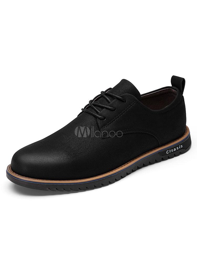Black Casual Shoes Men Suede Shoes Round Toe Lace Up Flat Shoes