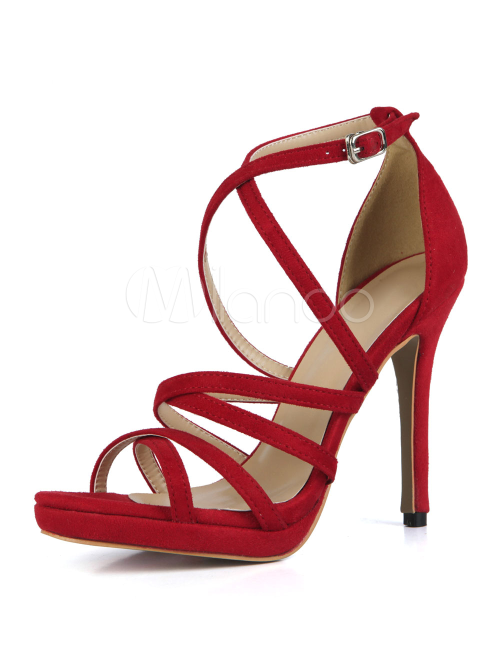 Red Sandal Shoes High Heel Open Toe Stiletto Criss Cross Suede Women Sandals