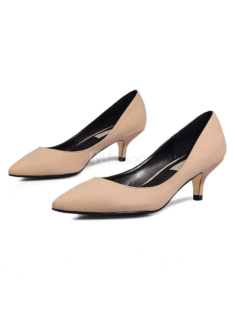 0d6a2dd8124 Kitten Heel Pumps Suede Pointed Toe Slip on Pumps Women Dress Shoes-No.1 ...