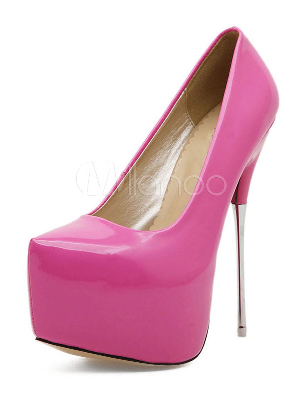 Buy Women High Heels Pointed Toe Pink Pumps Platform Heels Slip On Women Shoes for $61.19 in Milanoo store