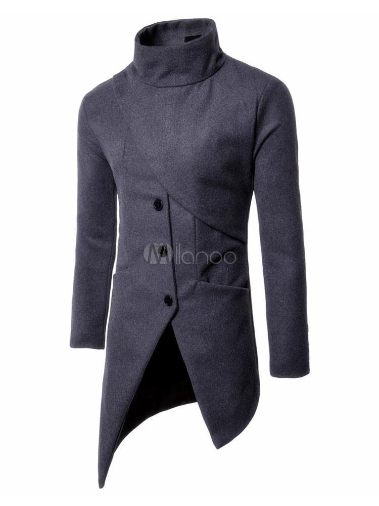 Abrigo De Tweed gris manga larga cuello alto asimétrico abrigo de ...