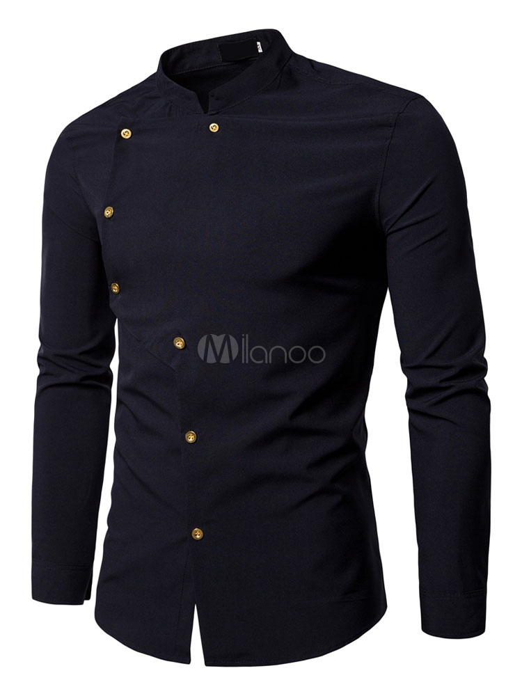 Buy Long Sleeve Shirt White Stand Collar Slim Fit Casual Shirt For Men for $18.99 in Milanoo store