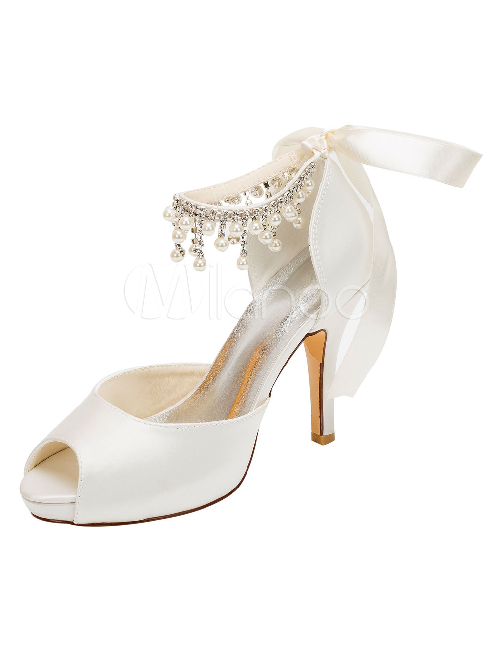 Ivory Wedding Shoes Satin High Heels Peep Toe Pearls Lace Up Bridal Shoes