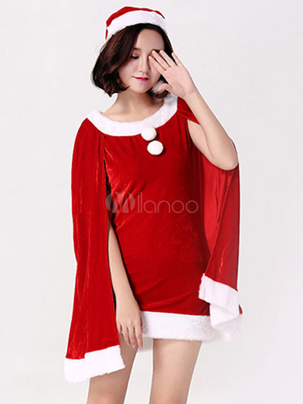 Buy Sexy Christmas Costume Women Red Santa Clause Velour Two Tone Mini Dress With Hat Christmas Gift for $55.19 in Milanoo store