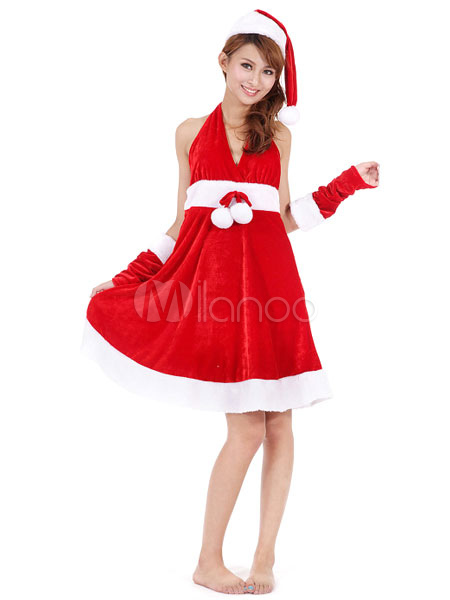 Buy Sexy Christmas Costume Santa Red Velour Dress With Hat And Arm Cover For Women Christmas Gift for $41.39 in Milanoo store
