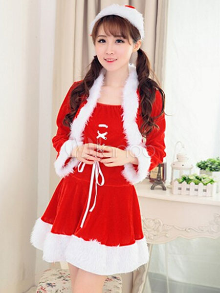 Buy Santa Christmas Costume Sexy Women Red Velour Two Tone Mini Dress With Jacket And Hat Christmas Gift for $64.99 in Milanoo store