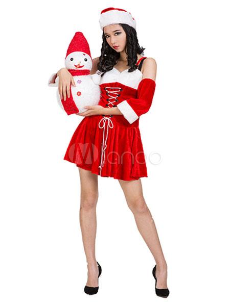 Costume da babba natale sexy rosso bicolore natale velo di simil velluto cappello - Costume da bagno velluto ...
