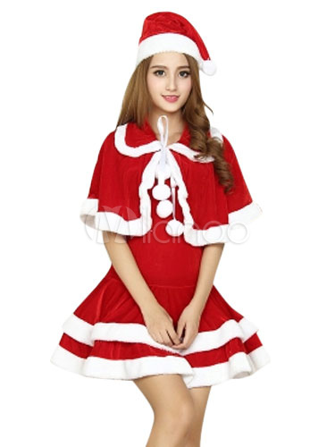 Buy Christmas Costume Santa Clause Red Velour Dress With Cloak And Hat For Women Christmas Gift for $64.99 in Milanoo store
