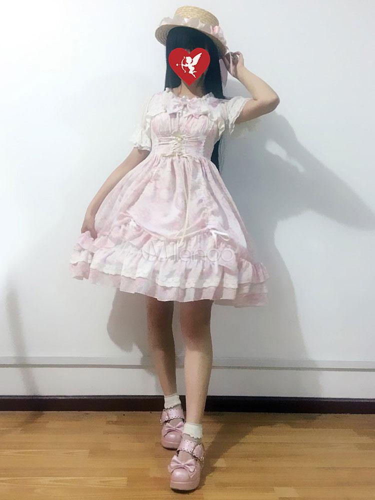 Buy Sweet Lolita JSK Jumper Skirt Neverland Chiffon Sleeveless Ruffles Bows Printed Pink Lolita Dress for $128.79 in Milanoo store