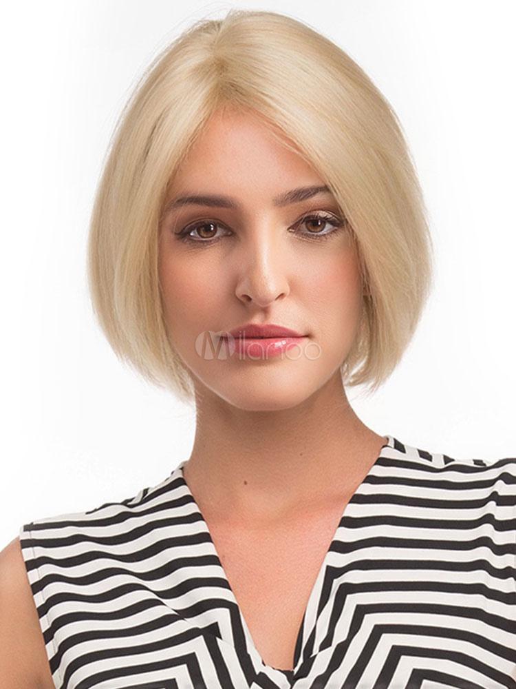 Blonde Bob Wig Central Parting Layered Women Short Natural Hair Wig Milanoo Com