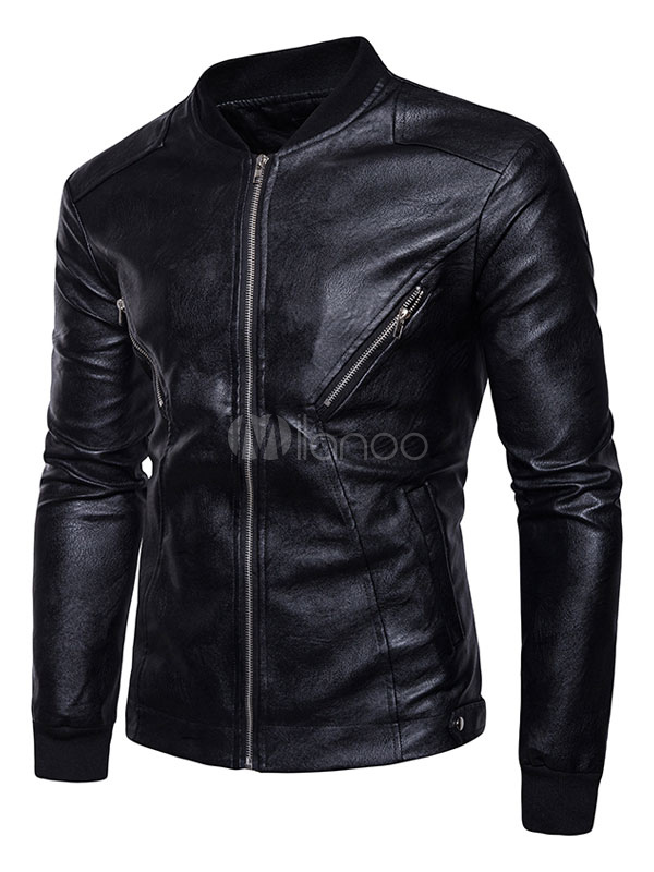Black Leather Jacket Men Jacket Stand Collar Long Sleeve Motorcycle Jacket