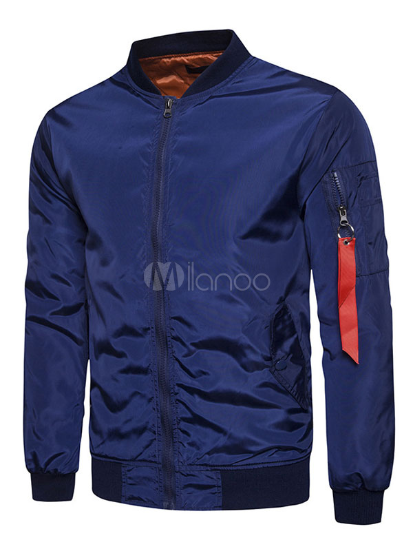 Buy Blue Bomber Jacket Men Jacket Stand Collar Long Sleeve Zip Up Short Jacket for $39.09 in Milanoo store