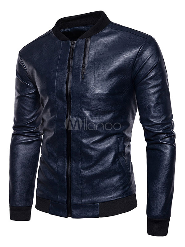 Buy Blue Leather Jacket Stand Collar Long Sleeve Short Jacket Men Jacket for $48.44 in Milanoo store