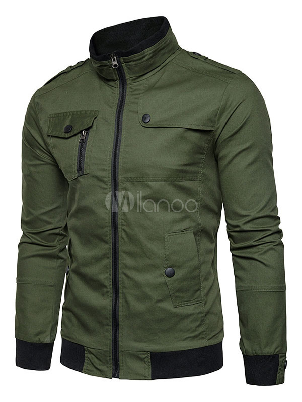 Men Jacket Hunter Green Military Jacket Stand Collar Long Sleeve Zip Up Spring Jacket