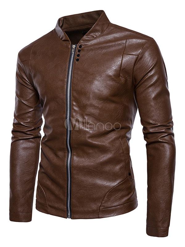 Brown Men Jacket Leather Jacket Stand Collar Long Sleeve Slim Fit Spring Jacket