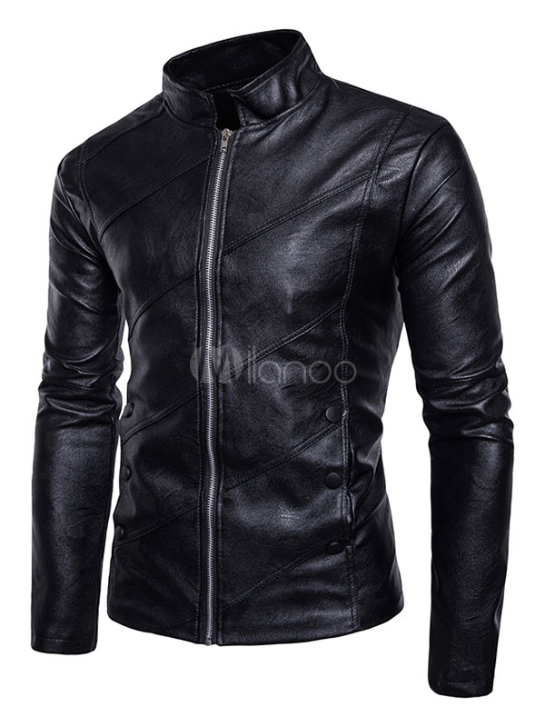 Buy Black Leather Jacket Men Spring Jacket Stand Collar Long Sleeve Short Jacket for $53.99 in Milanoo store