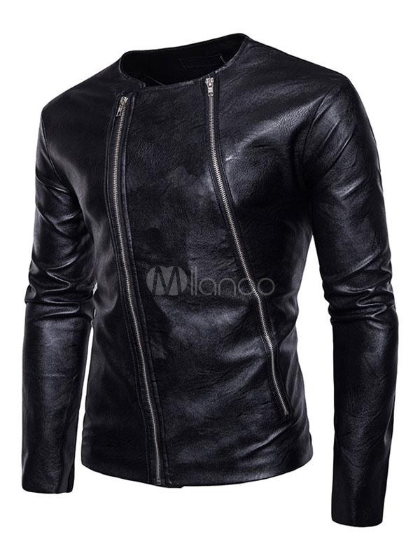 Black Leather Jacket Motorcycle Jacket Round Neck Long Sleeve Zip Up Men Jacket