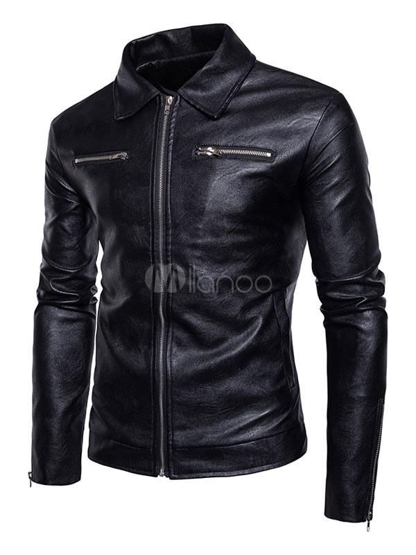 Buy Black Leather Jacket Turndown Collar Long Sleeve Zip Up Short Jacket Men Motorcycle Jacket for $49.99 in Milanoo store
