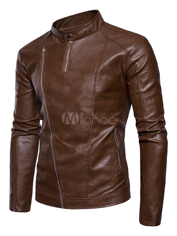 Brown Motorcycle Jacket Men Leather Jacket Stand Collar Long Sleeve Spring Jacket