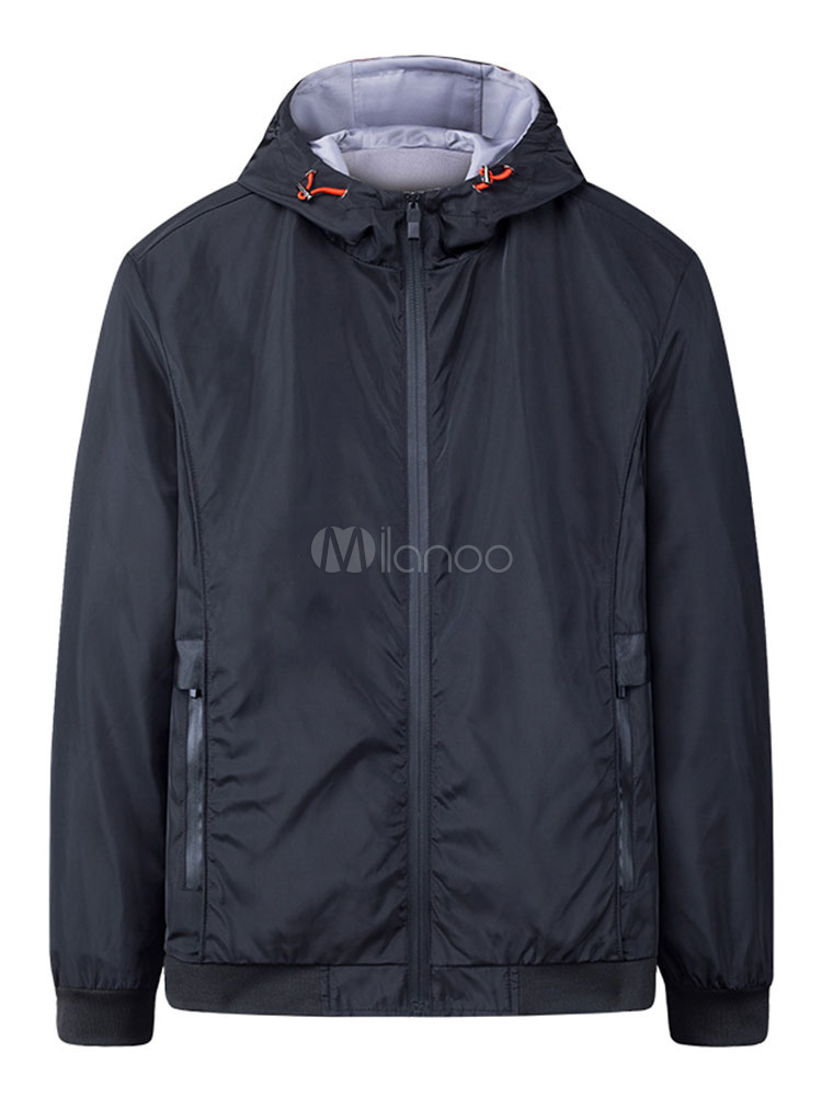 Buy Black Men Jacket Windbreaker Jacket Hooded Long Sleeve Zip Up Spring Jacket for $36.54 in Milanoo store