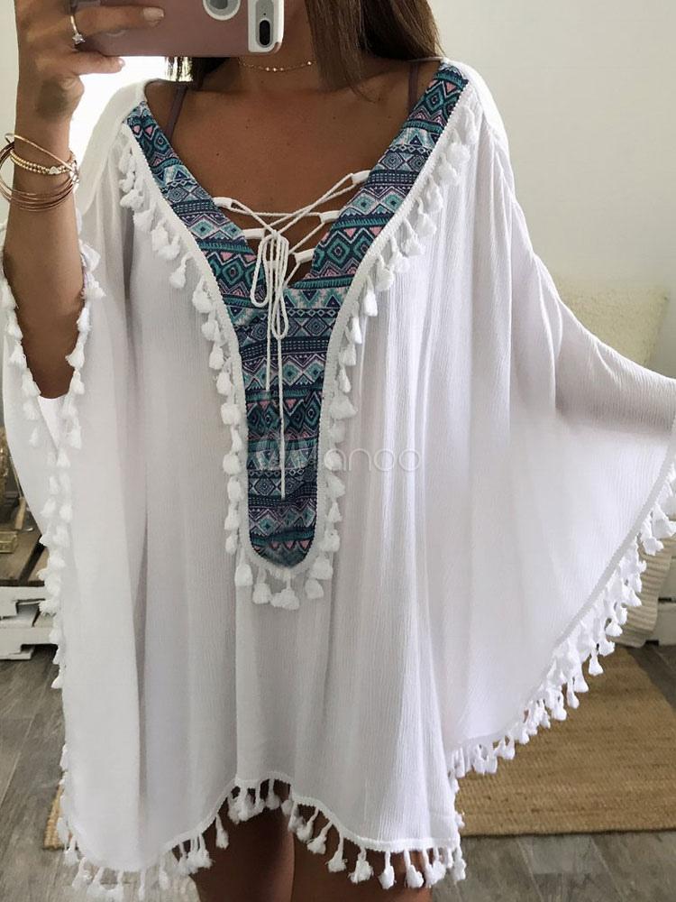 Buy White Cover Ups Women V Neck Long Sleeve Fringe Oversized Boho Beachwear for $17.99 in Milanoo store