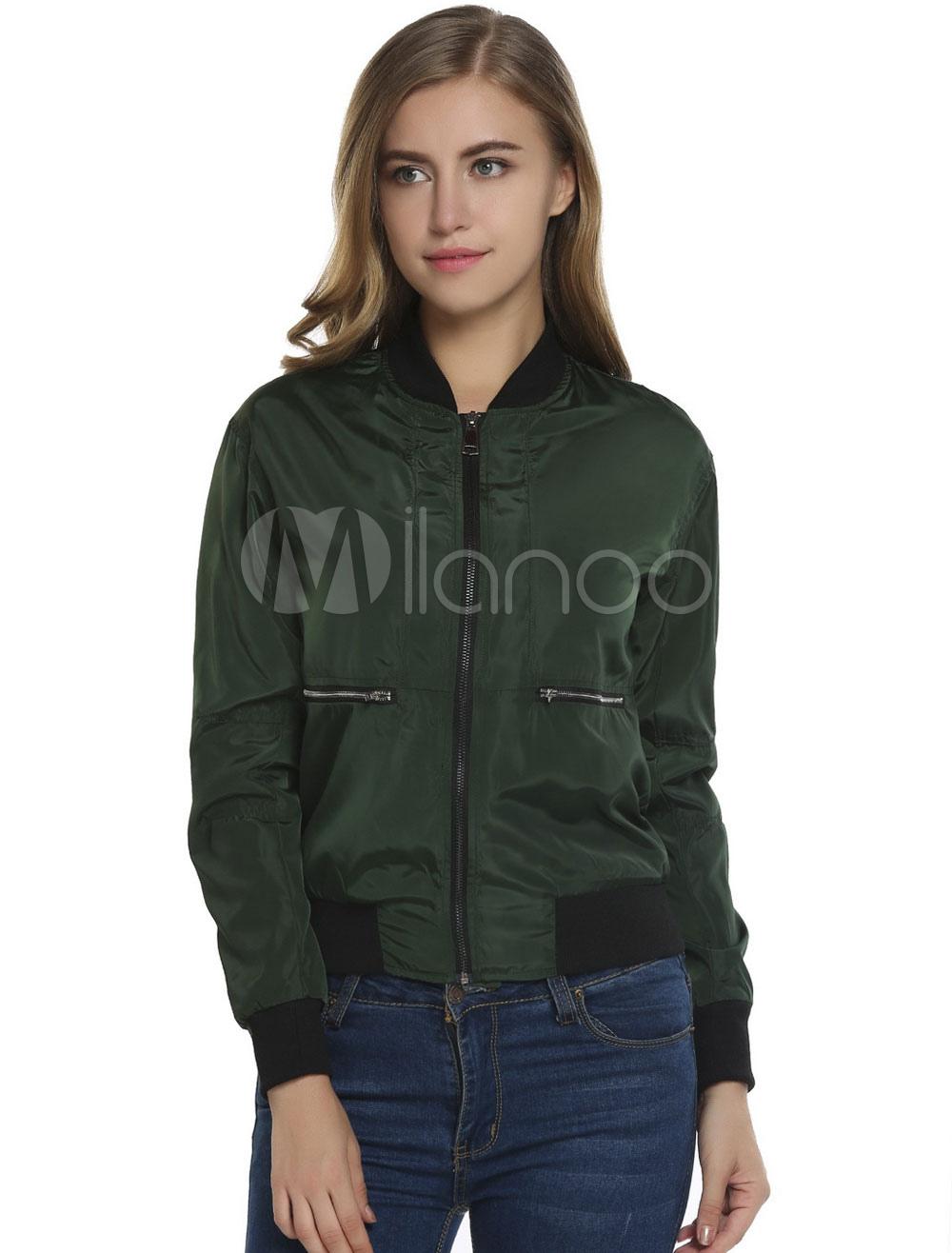 Buy Bomber Jacket Hunter Green Long Sleeve Stand Collar Short Varsity Jackets For Women for $27.89 in Milanoo store