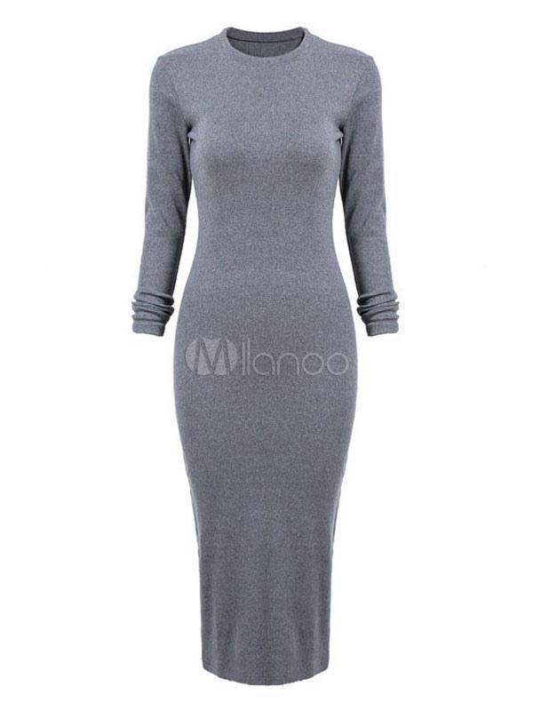 super popular e7f04 b3fa3 Lange, figurbetontes Kleid Frauen Baumwolle Kleid Langarm Schlitz  Gestaltung graues Kleid