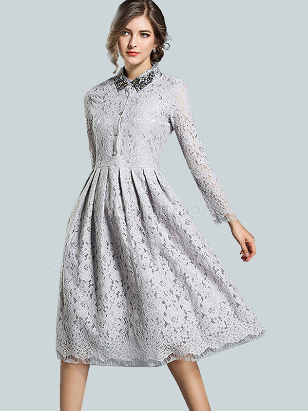 Buy Lace Women Dress Embellished Velour Collar Studded Pleated Long Sleeve Grey Women Spring Dress for $46.79 in Milanoo store