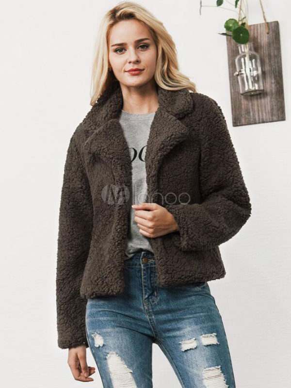 Teddy Bear Coat Faux Fur Jacket Wool Women Long Sleeve