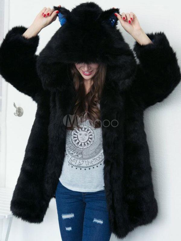 Buy Hooded Faux Fur Coat Black Long Sleeve Oversized Winter Coat For Women for $86.39 in Milanoo store