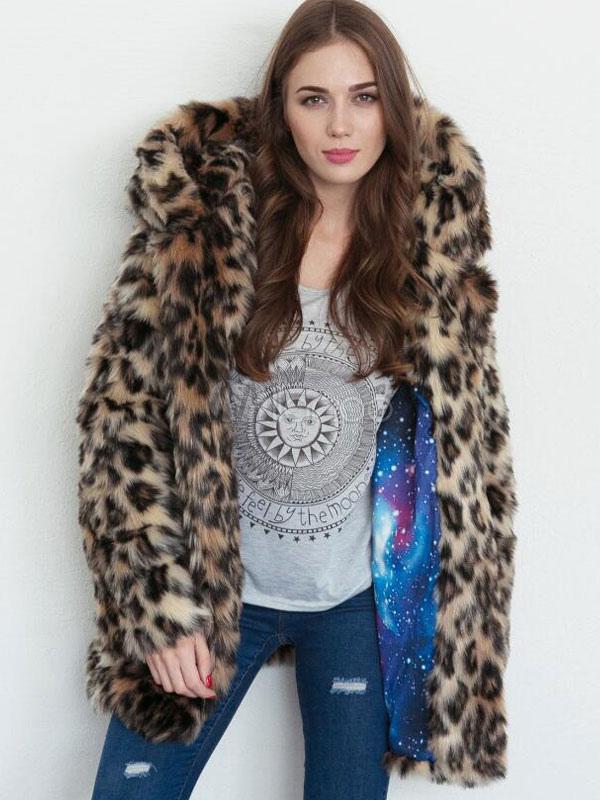 Hooded Faux Fur Coat Long Sleeve Leopard Winter Coat For Women