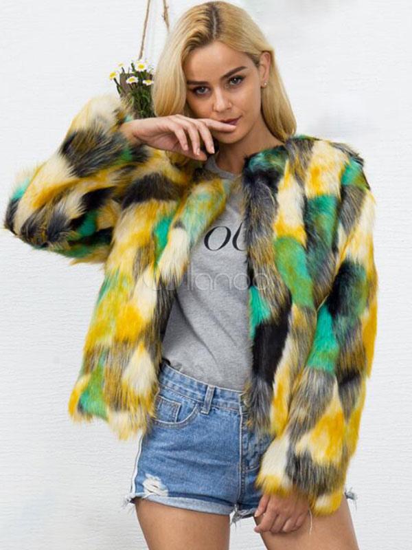 5a613bdcd8 Multicolor Faux Fur Coat Long Sleeve Round Neck Color Block Women Neon  Green Winter Coat- ...