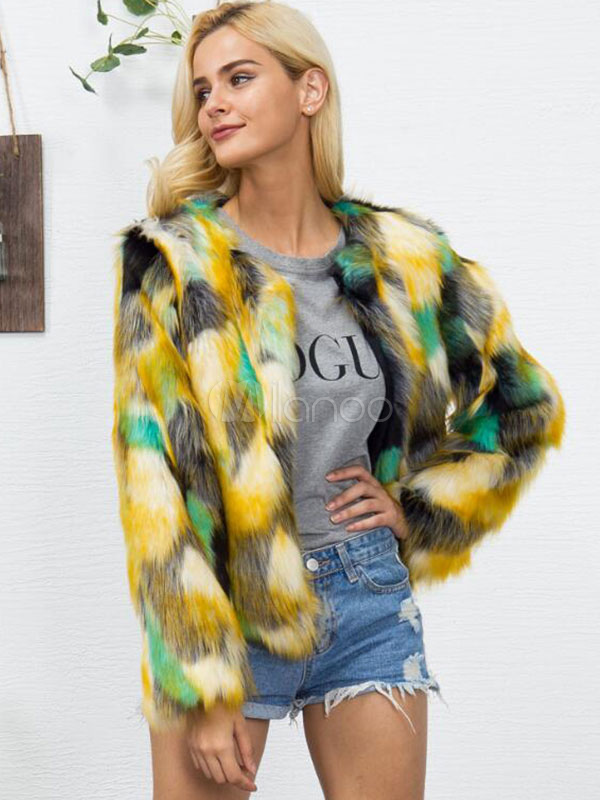 934717903 ... Multicolor Faux Fur Coat Long Sleeve Round Neck Color Block Women Neon  Green Winter Coat- ...