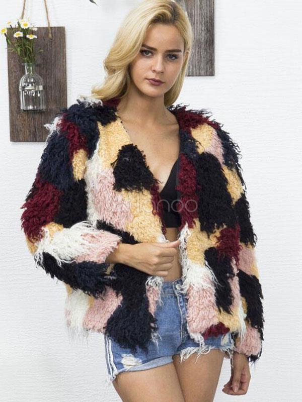 d84a06016 Multicolor Faux Fur Coat Women Long Sleeve V Neck Color Block Yellow Winter  Coat-No ...