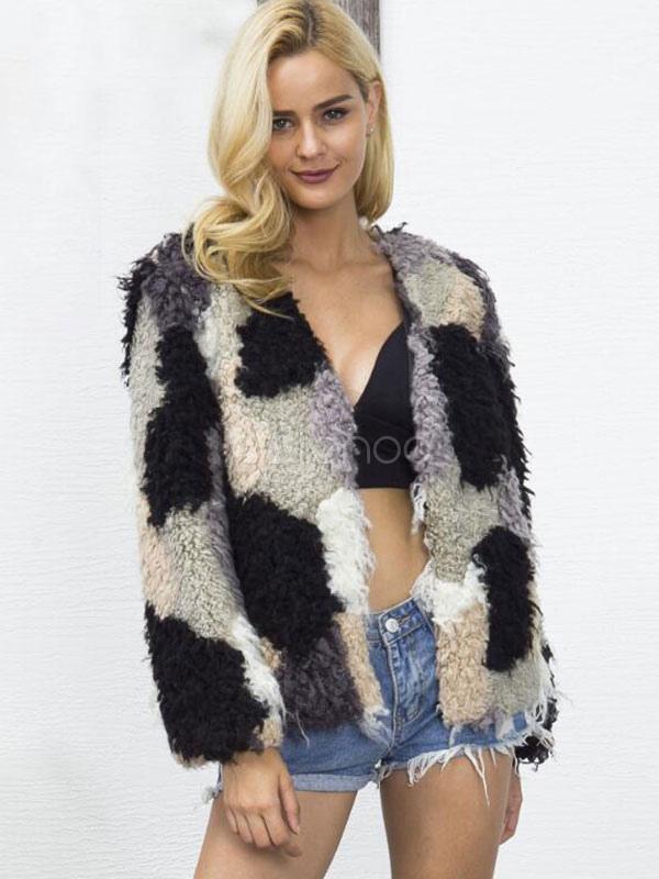 52d963103 ... Multicolor Faux Fur Coat Women Long Sleeve V Neck Color Block Yellow Winter  Coat-No ...