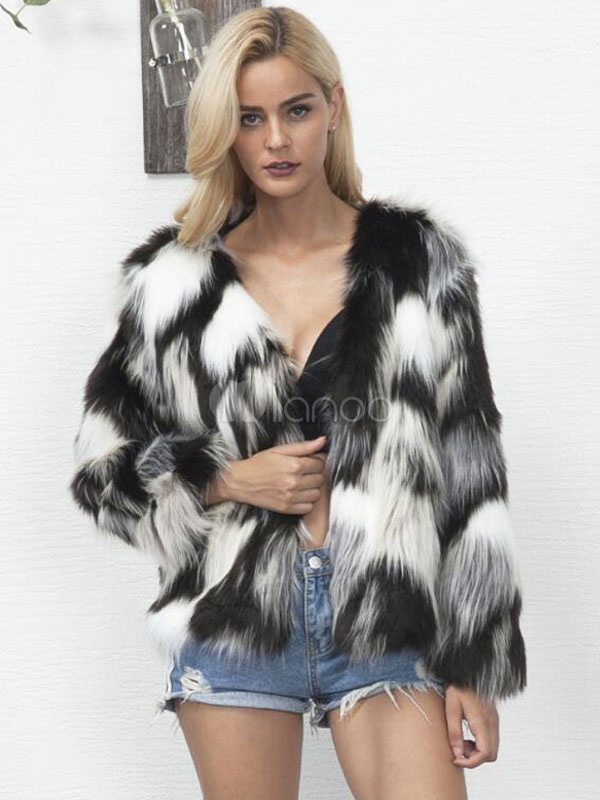 57f2a8fdff Multicolor Faux Fur Coat Black Long Sleeve V Neck Color Block Women Winter  Coat-No ...