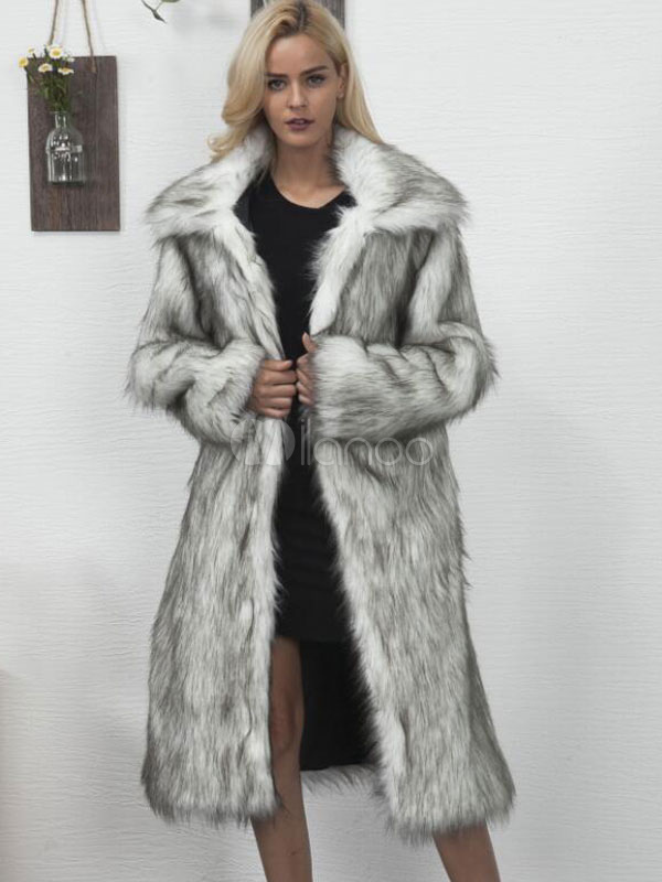 Buy Faux Fur Long Coat Grey Turndown Collar Oversized Women Winter Coat for $60.79 in Milanoo store