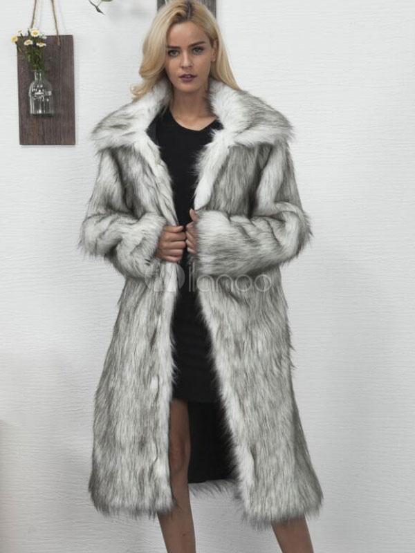 Buy Faux Fur Long Coat Grey Turndown Collar Oversized Women Winter Coat for $57.92 in Milanoo store