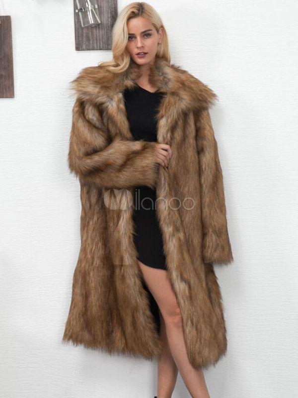 Bons prix Achat/Vente remise spéciale Manteau long en fausse fourrure col Turndown surdimensionné brun manteau  d'hiver pour les femmes