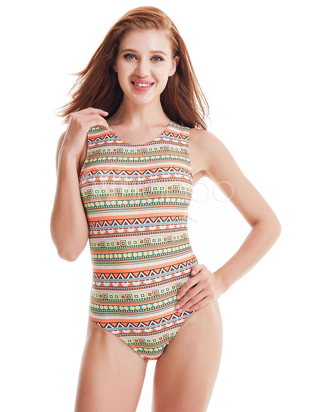 bf046c408e361 One Piece Swimsuit Sleeveless Round Neck Geometric Print Backless Orange  Women Bathing Suits-No. 1. 40%OFF. Color:Orange