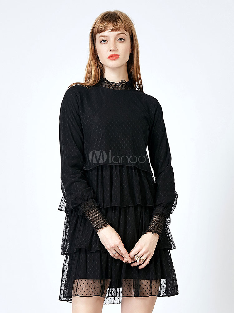Buy Black Lace Dress Tulle Crewneck Polka Dot Layered Ruffle Women Spring Dress for $48.59 in Milanoo store