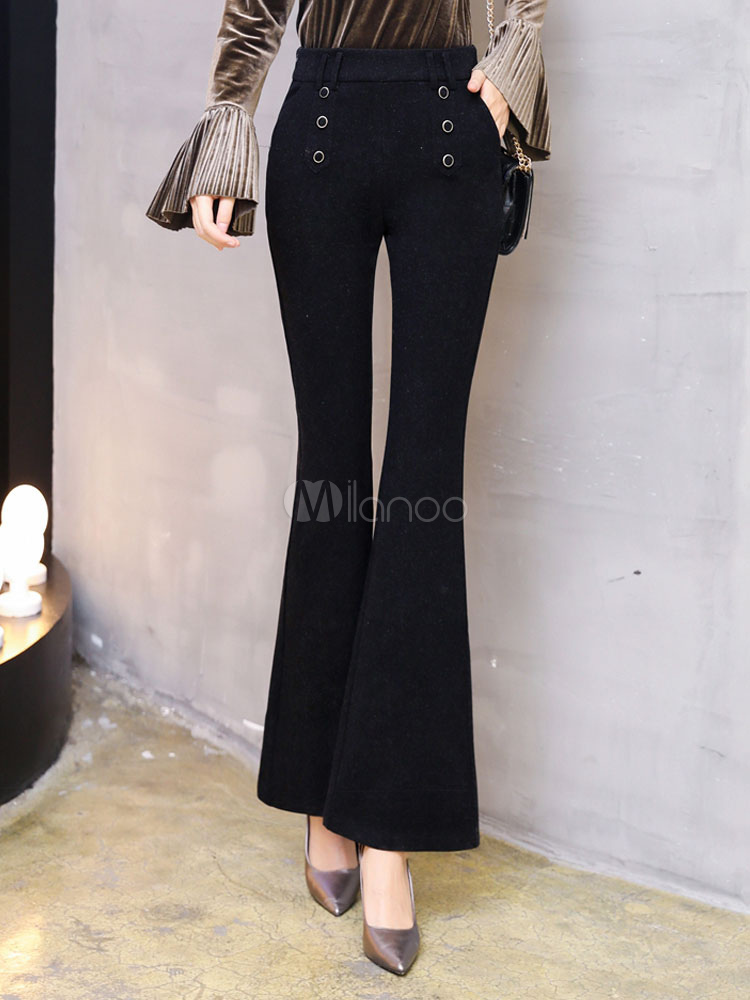 Buy Black Long Pants Tweed High Waisted Flared Pants For Women for $47.49 in Milanoo store