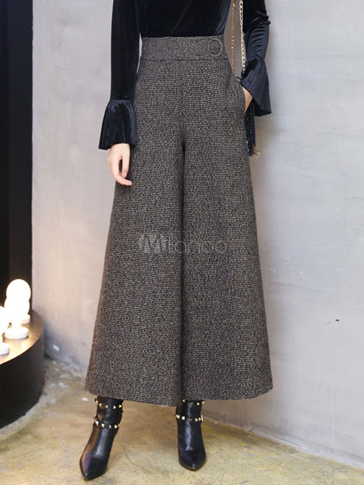 Buy Women Long Pants Tweed High Waisted Dark Brown Wide Leg Pants for $52.24 in Milanoo store