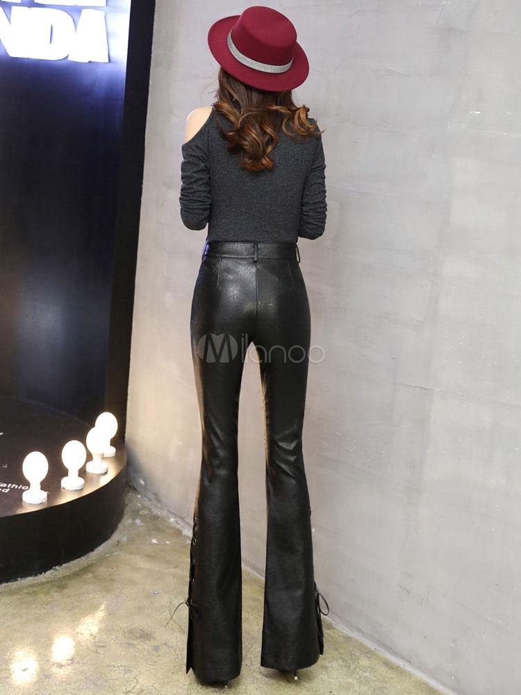 Pantalones Acampanados Negros Con Cordones Largos Pantalones De Cuero Para Mujeres 2021 Milanoo Com