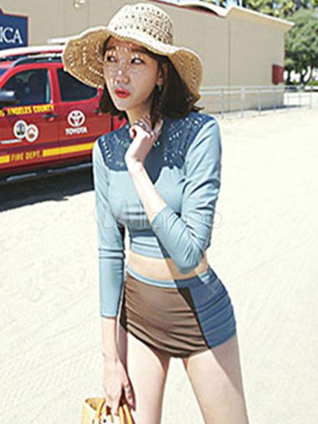 Women Bathing Suits Long Sleeve Crewneck Two Tone Illusion Blue Two Piece Swimwear