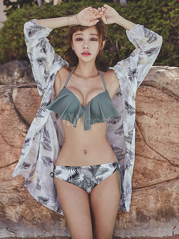 Women Bikini Swimwear Set Grey Halter Ruffles Leaf Print Bathing Suits With Cover Ups