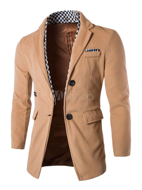 Men Peacoat Light Tan Spring Jacket Turndown Collar Long Sleeve Regular Fit Long Coat