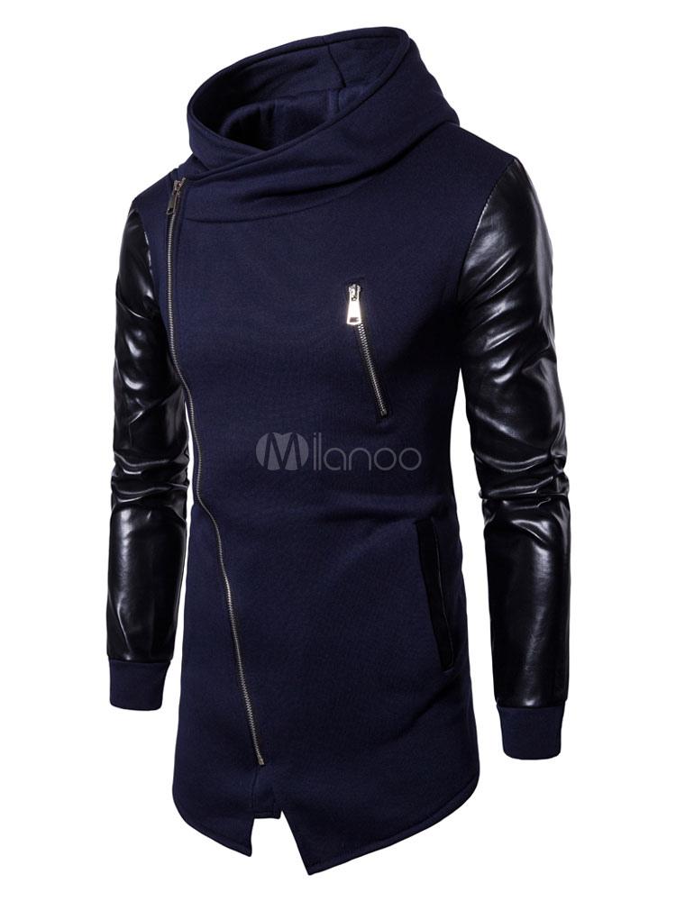 Buy Men Hoodie Full Zip Hoodie Hoodie Dark Navy Long Sleeve Regular Fit Sweatshirt for $26.99 in Milanoo store