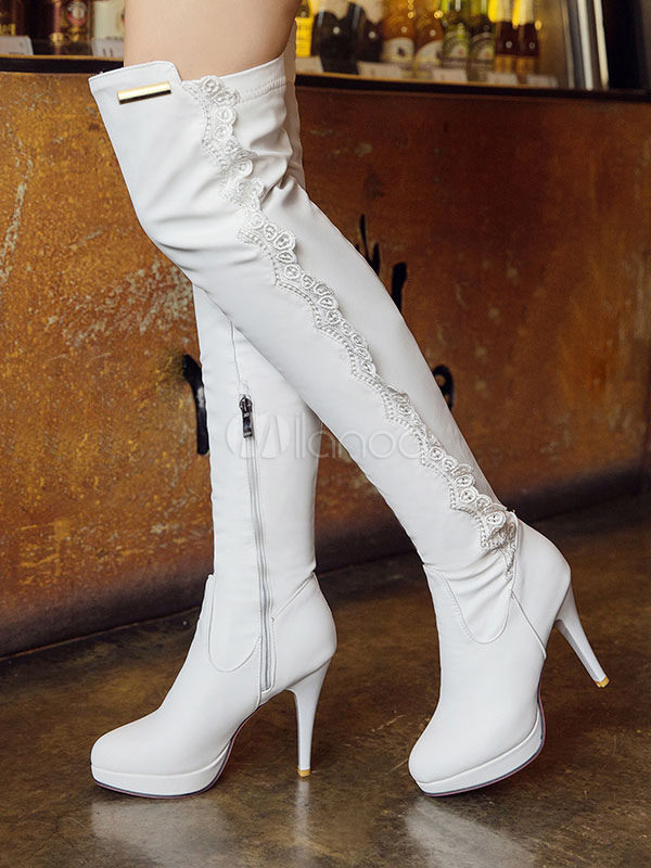 White Over Knee Boots High Heel Boots Round Toe Lace Detail Thigh High Boots